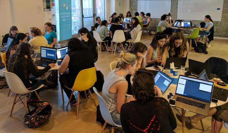 she codes; hacknight at wix branch